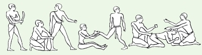 Упражнения парных пассивных растяжек с манускриптов Древнего Египта